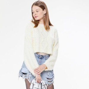 Urban Outfitters Lennox Fuzzy Cable Knit Sweater